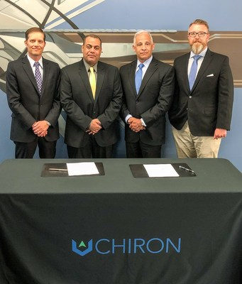 (From L to R) Chad Carroll, Chiron Chief Strategy Officer, Dr. Abdullah Al-Dahlawi, Dean of Prince Mohammed Bin Salman College for Cybersecurity, Artificial Intelligence, and Advanced Technologies, David Pappas, Chiron President, and Jeff Weaver, Chiron Chief Executive Officer
