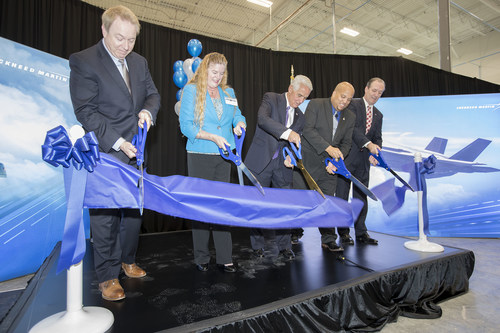 The ribbon is cut April 30 for a new Lockheed Martin manufacturing facility in Pinellas Park, Florida, that will create more than 80 new jobs by mid-2019 to support F-35 Lighting II production. Pictured, left to right: Greg Karol, Lockheed Martin Human Resources vice president, Pinellas Park Mayor Sandra Bradbury, U.S. Rep. Charlie Christ, Andre Trotter, André Trotter, Lockheed Martin Pinellas Park general manager, and Kevin McGagin, Lockheed Martin Production vice president.