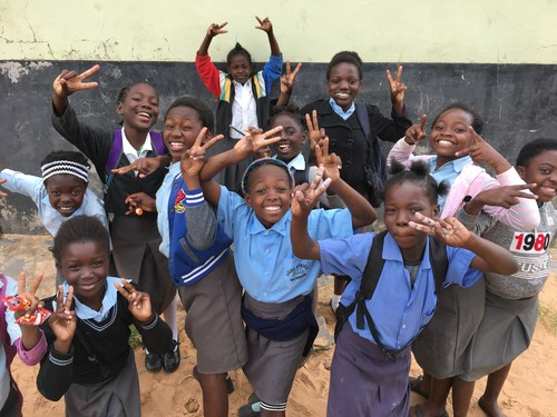 Students at the Arise Christian School in Lukasa, Zambia, Africa with is being expanded through a grant from the Kershaw Challenge.
