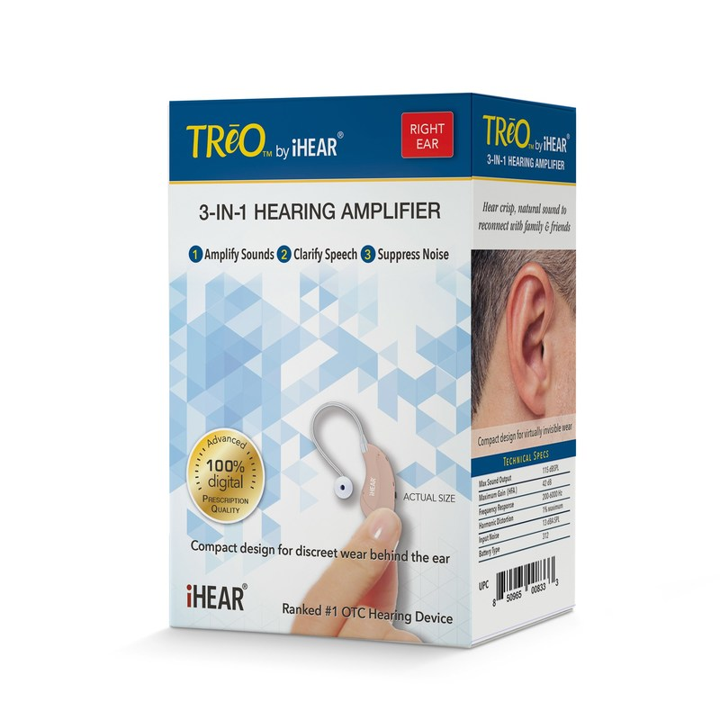 The TReO is the first prescription-quality hearing amplifier available over-the-counter in major drugstore chains and independent pharmacies across the United States.