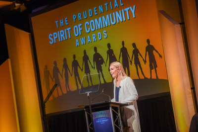 Olympic gold medalist and World Cup champion Lindsey Vonn congratulates top youth volunteers from across the United States at the 23rd annual Prudential Spirit of Community Awards. The 2018 State Honorees were each recognized at a ceremony on Sunday, April 29 at the Smithsonian's National Museum of Natural History.