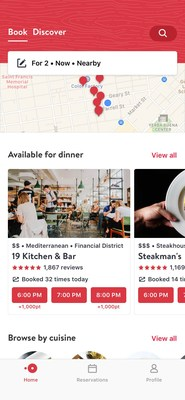 For diners looking to book now, the 'Book' tab allows them to see what's nearby with a map layout, read reviews, check out photos, and see diverse dining options in neighborhoods around them.