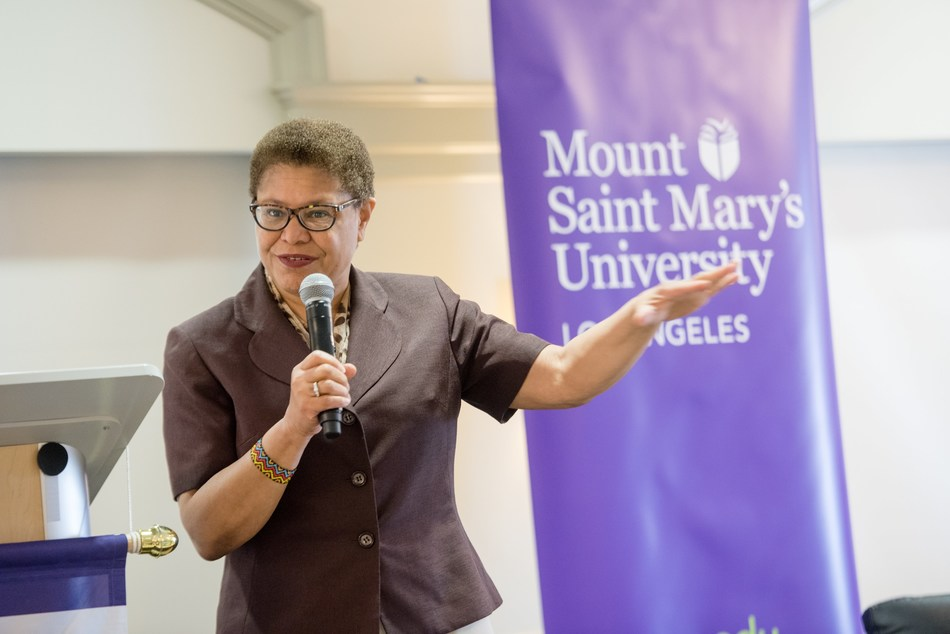 U.S. Rep. Karen Bass speaks about the need for more women to run, and serve, in elected office. On Saturday, April 28, Bass served as the opening keynote at Ready to Run, a nonpartisan campaign training program presented by the Center for the Advancement of Women at Mount Saint Mary's University in Los Angeles.