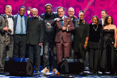 Pictured from left to right celebrating International Jazz Day 2018 in St. Petersburg, Russia are from left to right:  Igor Butman, Herbie Hancock, David Goloschekin, Robert Glasper, Kurt Elling, John Beasley, Dianne Reeves, Terri Lyne Carrington, Till Bronner, Luciana Souza