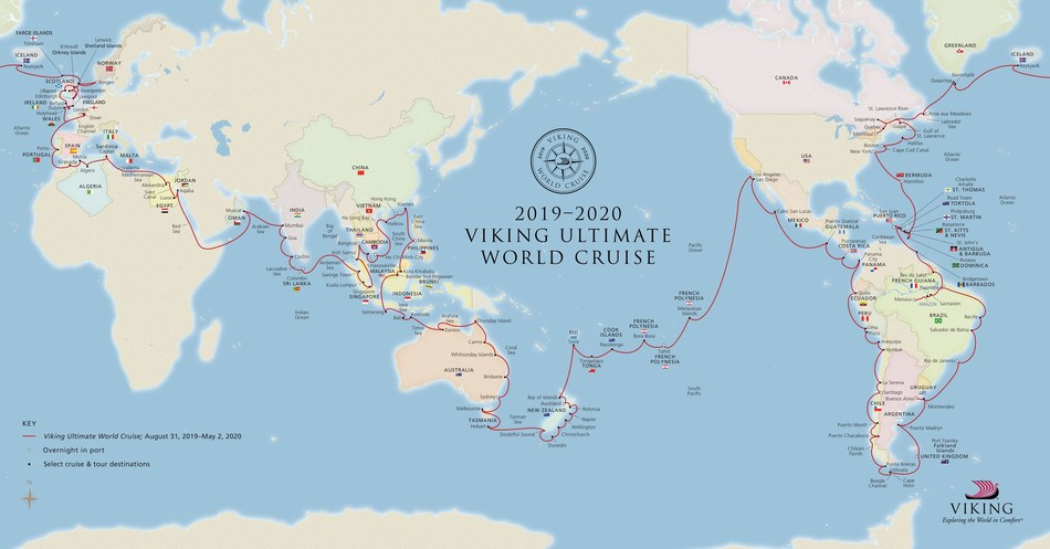 Viking today announced its new Ultimate World Cruise, which will span 245 days, six continents, 59 countries and 113 ports, with 22 port overnights and a full circumnavigation of the globe – making it the longest-ever continuous world cruise itinerary. For more information, visit www.vikingcruises.com.
