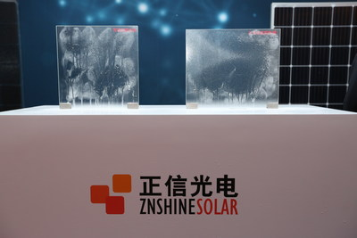 "Ordinary module glass(Left one) VS Znshine graphene-coating glass(Right one) (Water sprayed under the same dust pollution, graphene-coating glass's ""self-cleaning"" ability is significantly stronger)"