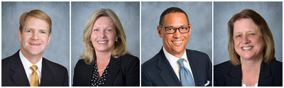Boston Mutual Life Insurance Company recently promoted the following individuals, from left to right, to Executive Vice President: David Mitchell, Mary Tillson, and Grant Ward; and to Vice President: Susan Gardner.