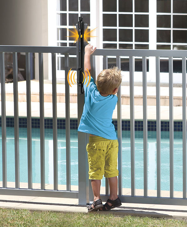 D&D Technologies' MagnaLatch® ALERT Child Safety Gate is the world's first and only combined gate latch and electronic alarm.  The gate latch-alarm offers a dual alarm system of flashing LED lights (safety you can see) and an audible alarm (safety you can hear) when the gate is unlatched or open.