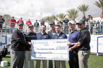 Tucson Conquistadores and Cologuard present $50,000 check from the Cologuard Classic to MVP quarterback Aaron Rodgers, and Ben Haas and Paul Soltwedel of the Vince Lombardi Cancer Foundation. (From L-R: Jose Rincon, president, Tucson Conquistadores; Jerry Kelly; Ben Haas; Aaron Rodgers; Paul Soltwedel; Kevin Conroy, chief executive officer, and Maneesh Arora, chief operating officer, Cologuard.)