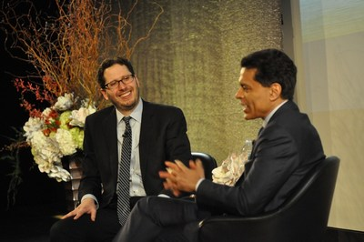"David Lubell (L), recipient of The Charles Bronfman Prize and founder of Welcoming America, discusses immigration and refugees with CNN's Fareed Zakaria during a celebration of ""those who improve the world."""
