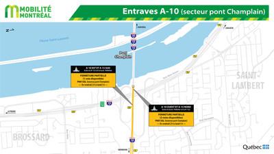Entraves A-10 (secteur pont Champlain) (Groupe CNW/Ministère des Transports, de la Mobilité durable et de l