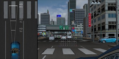 Interactive specification review simulates display of future augmented reality head-up display to enhance safety on the road.