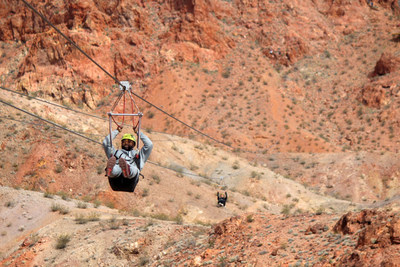 After enjoying majestic views of the Mojave Desert from Bootleg Canyon, injured veterans launched themselves down the first of four zip line courses, covering 1.5 miles, during a recent Wounded Warrior Project® (WWP) gathering.