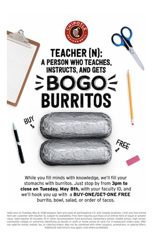 May 8: Chipotle Celebrates Educators With Teacher