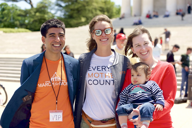 2017 March for Moms, Dr. Neel Shah and family, March for Moms founder and Christy Turlington Burns, Founder and CEO of Every Mother Counts. Christy will again be speaking at this years event.