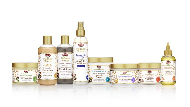 African Pride's Moisture Miracle collection replenishes and restores moisture to dry hair.