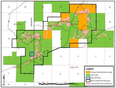 Figure 1: UEC's North Reno Creek Project  Map (News Release May 3, 2018: Uranium Energy Corp Completes the Acquisition of the North Reno Creek Project) (CNW Group/Uranium Energy Corp)