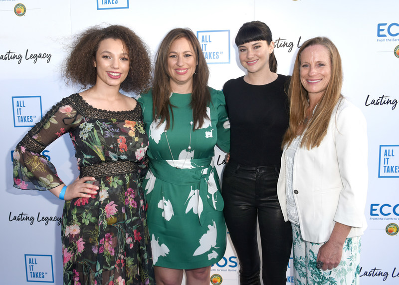 CYPRESS, CA - APRIL 28: (L-R) Alexia Hanks, President & CEO Earth Friendly Products, Kelly Vlahakis-Hanks, actor Shailene Woodley and Lori Woodley attend the All It Takes Lasting Legacy event at the headquarters of Earth Friendly Products (ECOS) to celebrate youth leadership on April 28, 2018 in Cypress, CA. (Photo by Vivien Killilea/Getty Images for All It Takes)