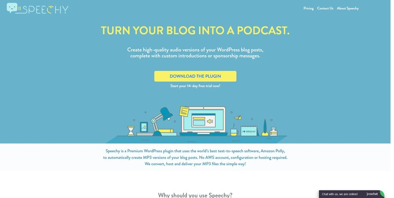 Speechy.io - Create high-quality audio versions of your WordPress blog posts and convert your blog into a podcast.
