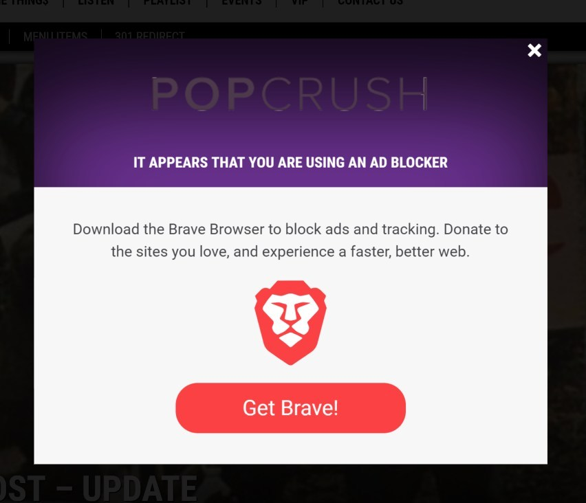 Example of the overlay that ad blocking users will view on PopCrush.com.