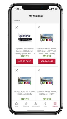 BJ's Wholesale Club's new discover feature on its mobile app lets shoppers explore new products and easily swipe right to add to a wishlist or left to dismiss a product.