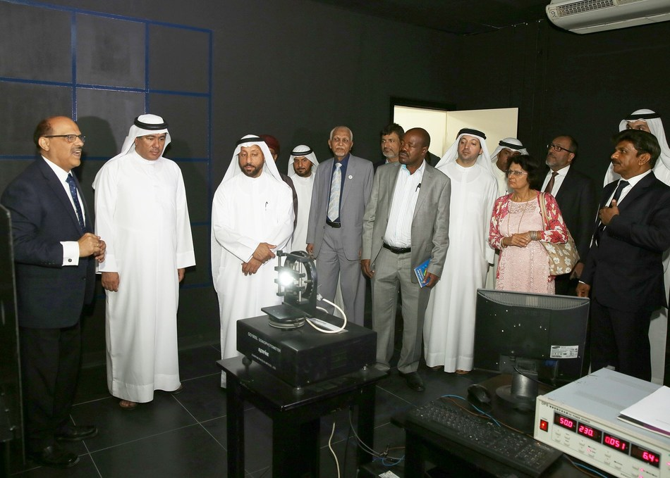 H.E. Abdallah Sultan Al Owais, Chairman of Sharjah Chamber of Commerce Industry and other guests during the facility tour of Rexton Technologies LED Fittings manufacturing facility in SAIF Zone Sharjah (PRNewsfoto/Rexton Technologies)