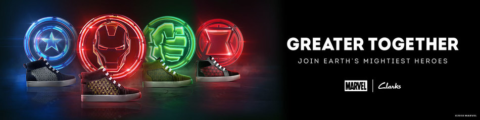 Clarks Kids and Marvel create an exclusive collection that celebrates strength in unity (PRNewsfoto/Clarks Kids)