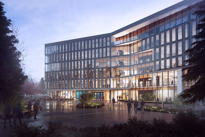 "Construction of a 128,000-square-foot building called the ""Hub"" will connect office and technology workers with employees running Alaska Airlines."