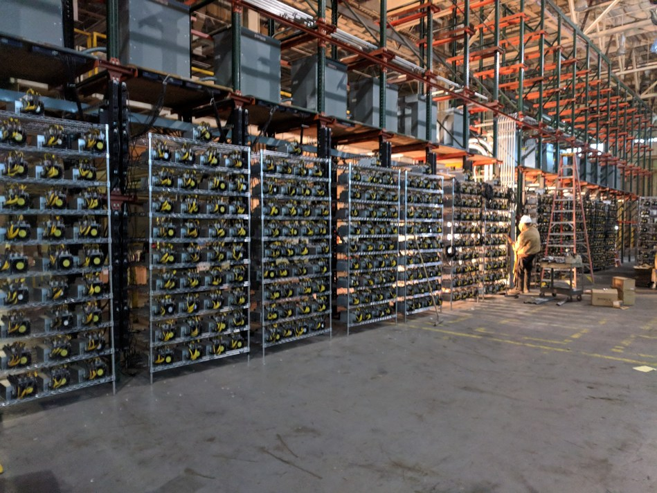 Some of the 4,065 cryptocurrency ASIC miners in operations at the Riot Blockchain mining facility.