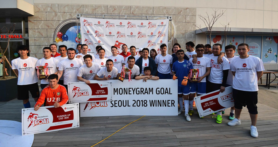 Winners of the first edition of the MoneyGram G.O.A.L. soccer tournament in South Korea