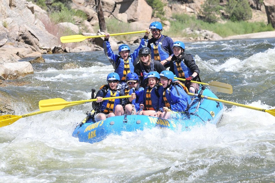 A commercial raft goes down Zoom Flume rapid on the Arkansas River in Browns Canyon National Monument near Buena Vista, Colorado.