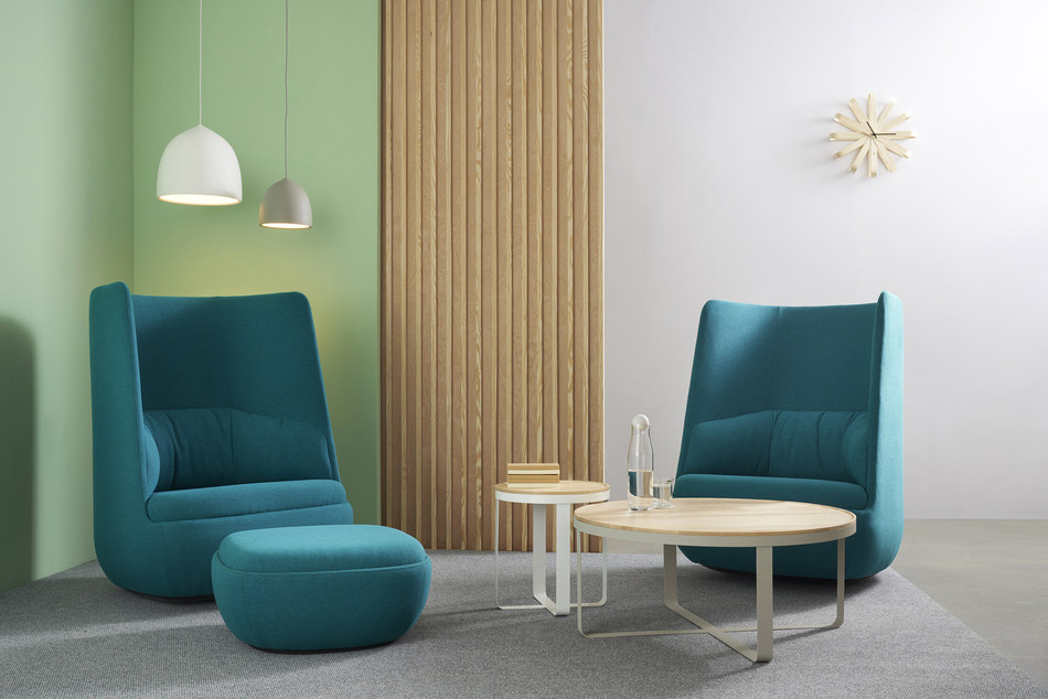 Gimbal High Back Lounge Rocker, from Hightower designed by San Francisco-based Most Modest. Shown with ottoman, Ribbon Tables and Suspence pendant lighting.