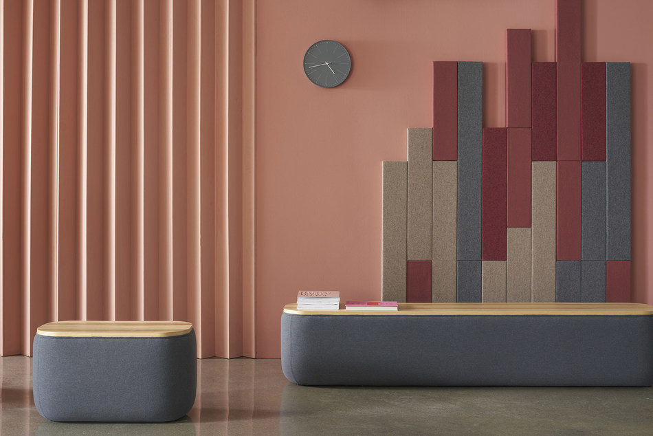 Breck Benches from Hightower, designed by Most Modest. Shown here with Timber, Hightower's sound-absorbing, modular wall and ceiling panels.