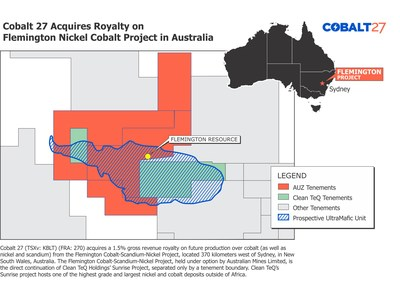 Cobalt 27 Acquires Royalty on Flemington Nickel Cobalt Project in Australia
