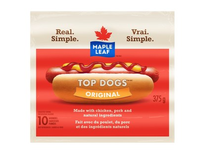 Saucisses fumeés originales Top Dogs Maple Leaf (Groupe CNW/Les Aliments Maple Leaf Inc.)