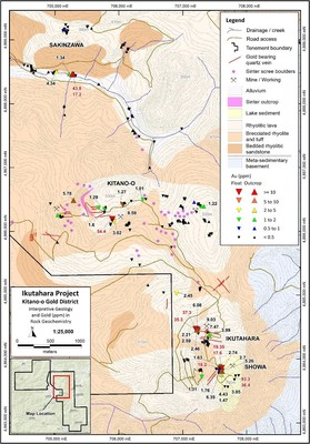 Figure 2: Kitano-o Gold District, Significant Gold Results from Surface Rock Sampling on Simplified Geology (CNW Group/Japan Gold Corp.)