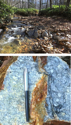 Figure 5a and 5b: Gold-bearing quartz stockwork (bottom image) from altered rhyolitic volcanic breccia outcrop (top image); SAM02069: 17.2 g/t Au, 15.85 g/t Ag, 452 ppm As, 20 ppm Sb (CNW Group/Japan Gold Corp.)