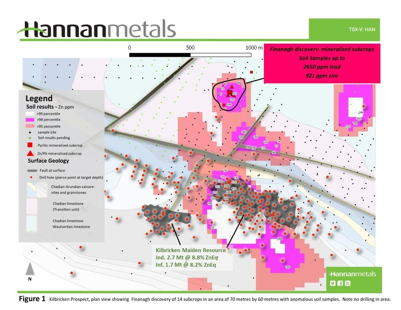 Figure 1 Kilbricken Prospect, plan view showing Finanagh discovery of 14 subcrops in an area of 70 metres by 60 metres with anomalous soil samples. Note no drilling in area. (CNW Group/Hannan Metals Ltd.)