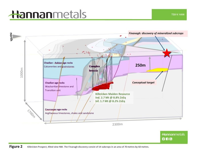 Figure 2 Kilbricken Prospect, tilted view NW. The Finanagh discovery consist of 14 subcrops in an area of 70 metres by 60 metres. (CNW Group/Hannan Metals Ltd.)