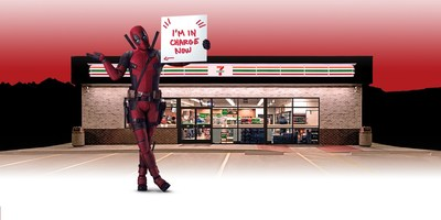 7-Eleven may have gotten more than it bargained for by bringing Deadpool's unique humor and charisma into stores. Coast to coast, inside and out, participating locations are blanketed with messages, doodles, and thoughtful musings from everyone's favorite hero. (PRNewsfoto/7-Eleven, Inc.)