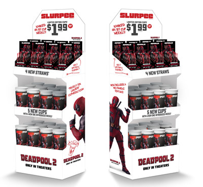 Exclusive Deadpool-branded items from collectible Slurpee® cups and straws to chimichangas and Trolli Sour Brite Tiny Hands candy can be found at participating stores. (PRNewsfoto/7-Eleven, Inc.)