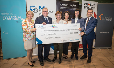 From left to right: Martine Turcotte, Vice Chair, Québec, Bell; Gaétan Barrette, Health and Social Services Minister; Diane Marcotte, professor and researcher, UQAM, author of Zenétudes; Stephanie Rossy, Vice Chair, The Rossy Family Foundation; Magda Fusaro, rector, UQAM; Bernard Tremblay, President and Chief Executive Officer, Fédération des cégeps (CNW Group/Bell Canada)