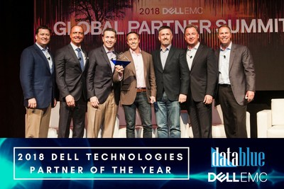 Data Blue CEO, Stephen Ayoub, and Data Blue President, Chris McMillen, accepting the Partner of the Year Award.