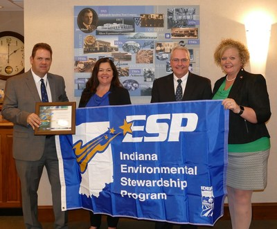 Allison Transmission has been accepted by the Indiana Department of Environmental Management (IDEM) as a member of its Environmental Stewardship Program (ESP). Pictured left to right are: Bob Lugar, deputy assistant commissioner of IDEM's Office of Program Support; Teresa Colson, environmental engineering manager for Allison; Michael Dick, vice president of operations and purchasing for Allison; and Julia Wickard, assistant commissioner of IDEM's Office of Program Support.