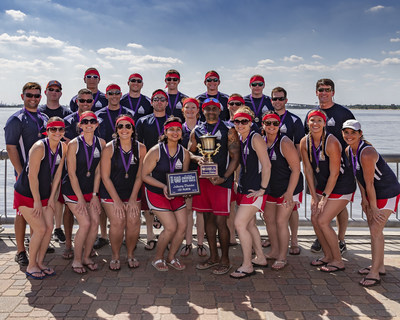TeamCITGO paddlers with the 2018 Dragon Boat Race trophy.