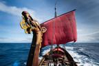 Draken Harald Hårfagre, the world´s largest Viking ship sailing in modern times. Credit: Peder Jacobsson