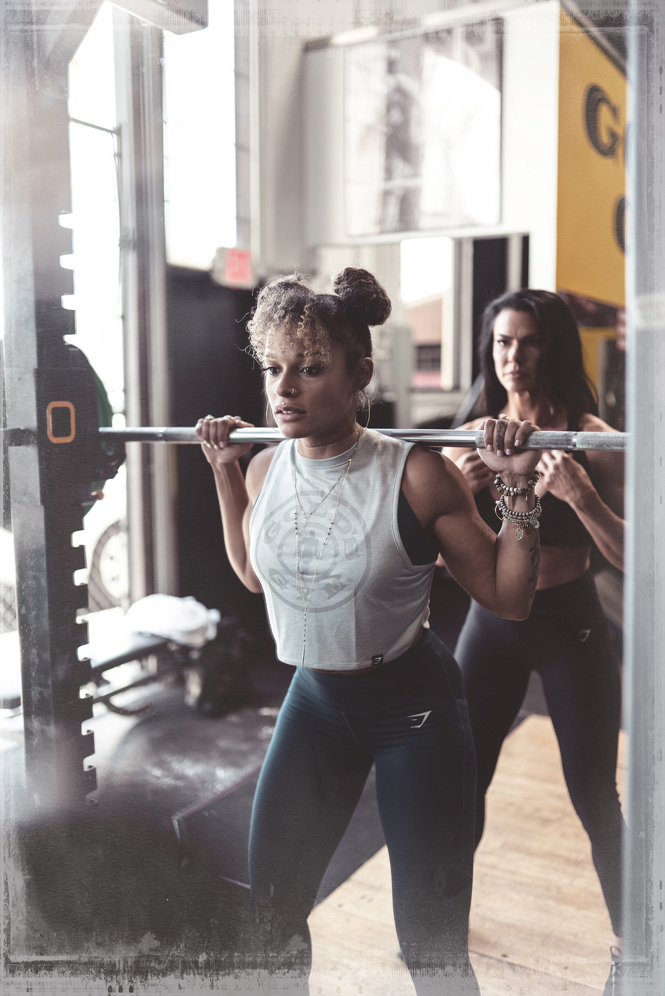 Gold's Gym and Gymshark limited-edition performance wear collection available beginning June 1.