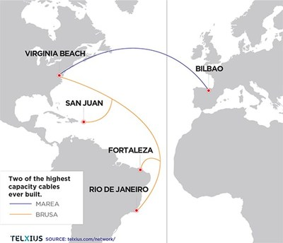 MAREA and BRUSA subsea cable routes
