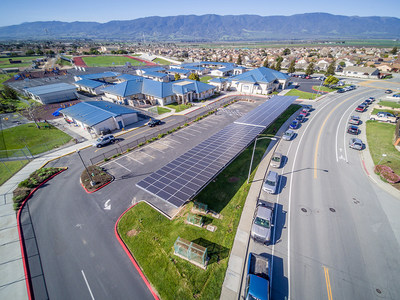 """Solar array at Rose Ferrero Elementary School, one of Soledad USD's new solar projects across the District, and site of the community """"Earth Day, Every Day"""" celebration event on May 3, 2018."""