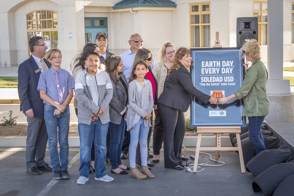 """District leaders from Soledad USD, along with Soledad USD students, faculty, and ENGIE Services U.S. team members """"flip the switch"""" on Soledad's new, District-wide solar program on May 3, 2018."""